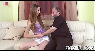 Teen blows and rides old ramrod