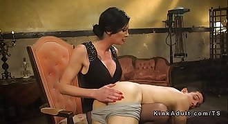 Tranny in pantyhose assfuck banging dude