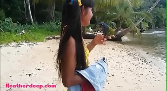 Ameteur Tiny Thai Teenage Heather Deep day at the beach gives deepthroat Throatpie Swallow