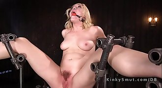 Blonde in extreme bondage whipped and fucked