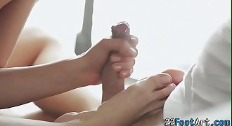 Yoga babe gives footjob