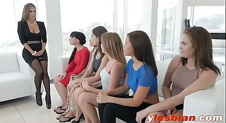 A job interview ends up with passionate lesbian pussy licking on a couch