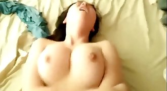 Big chest chinese girlfriend Jihua gives an artfully blowjob and riding cock POV