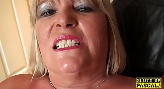 Fat british grandma masturbating and showcasing off abilities