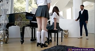 Two lovely teens fucked hard by a black piano teacher